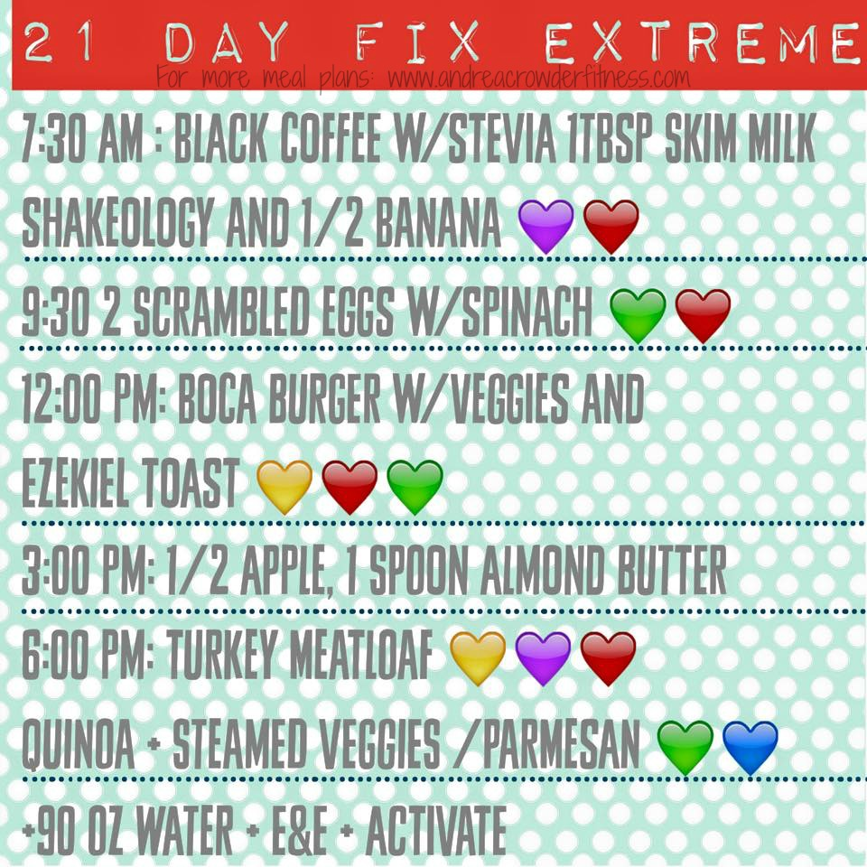 how to plan meal on 21 day fix extreme